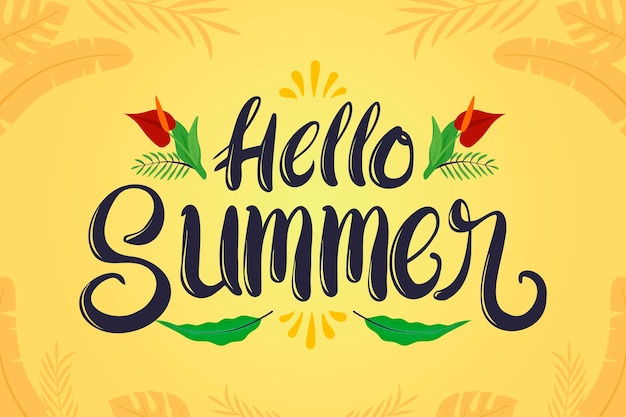 Hand drawn hello summer lettering