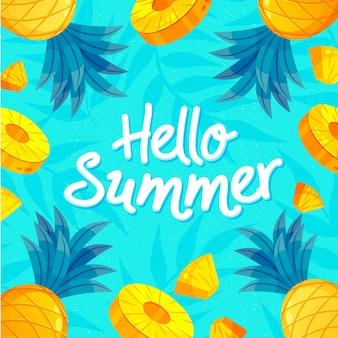 손으로 그린 안녕하세요 여름 글자