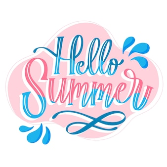 Hand drawn hello summer lettering