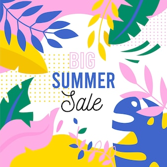Hand drawn hello summer sale banner