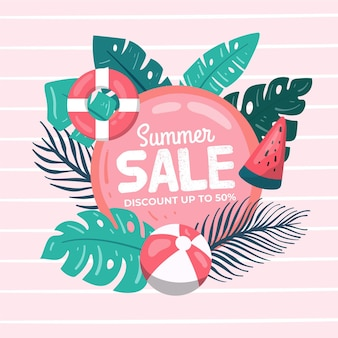 Hand drawn hello summer sale concept