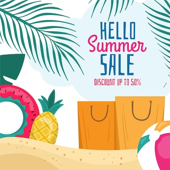 Hand drawn hello summer sale illustrated