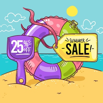 Hand drawn hello summer sale illustration