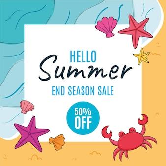 Hand drawn hello summer sale illustration