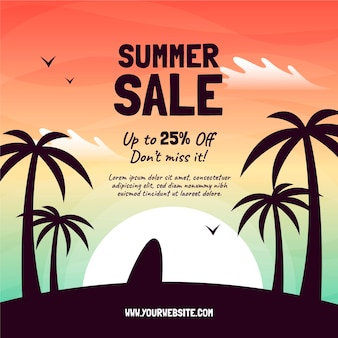 Illustrazione disegnata a mano di vendita di estate di ciao