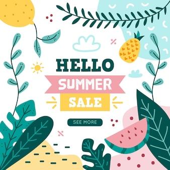 Рисованной привет летняя распродажа с листьями