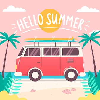 Hand drawn hello summer wallpaper