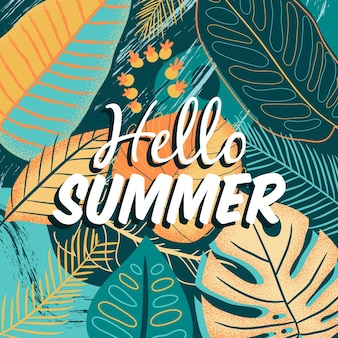 Hand drawn hello summer with foliage