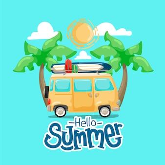 Hand drawn hello summer with van and palm trees