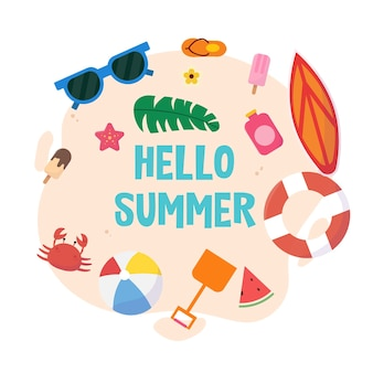 손으로 그린 안녕하세요 여름