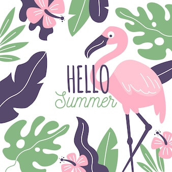 Hand drawn hello summer