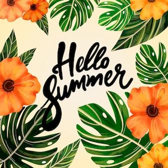 Hand drawn hello summer