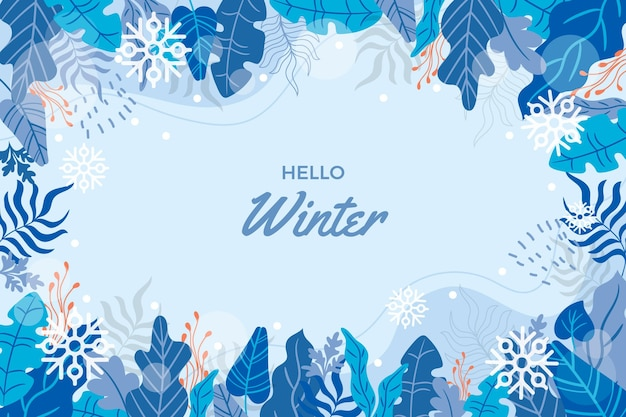 Hand drawn hello winter background