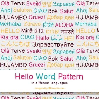 Hand drawn hello word pattern in different languages
