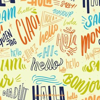 다른 언어로 손으로 그린 안녕하세요 단어 패턴
