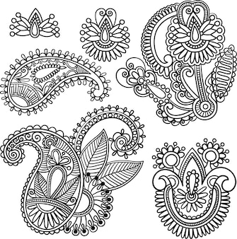 Hand-drawn henna mehndi tattoo flowers