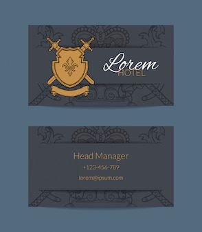 Hand drawn heraldics business card for hotel