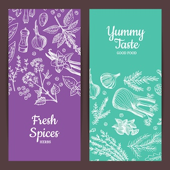 Hand drawn herbs spices banners