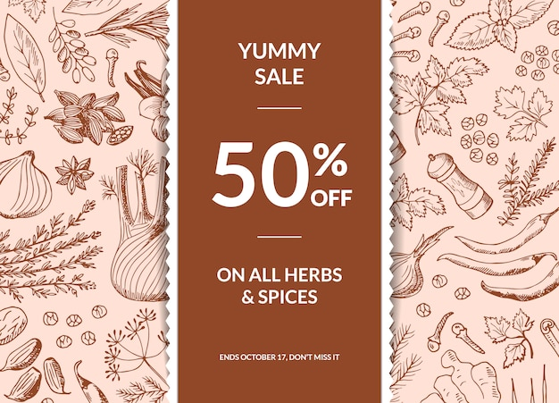 Hand drawn herbs and spices sale banner with ribbon