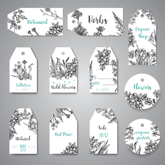 Hand drawn herbs and wild flowers tags and labels vintage collection of plants