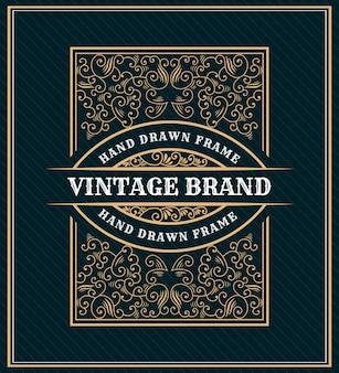손으로 그린 유산 럭셔리 로얄 빈티지 레트로 로고 디자인 텍스트 및 타이포그래피 장식 엠블럼 프레임