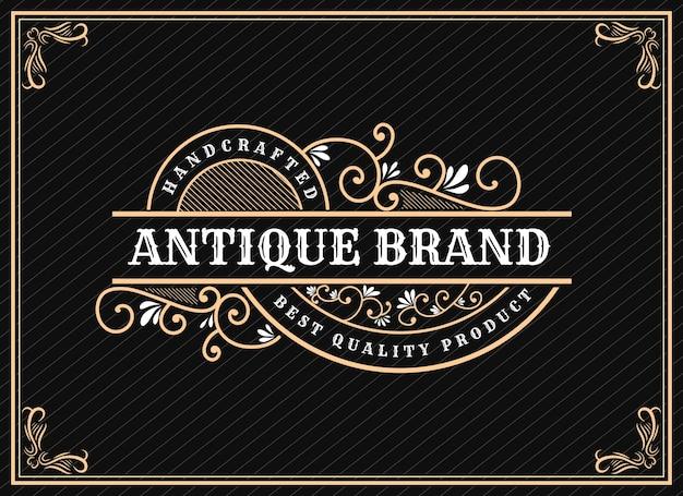 テキストとフォントのショーケースプレミアムの装飾的なフレームと手描きの遺産の豪華なヴィンテージレトロなロゴデザイン