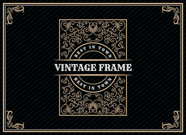 Hand drawn heritage luxury vintage retro logo design with decorative frame for wedding invitation card text and font showcase premium