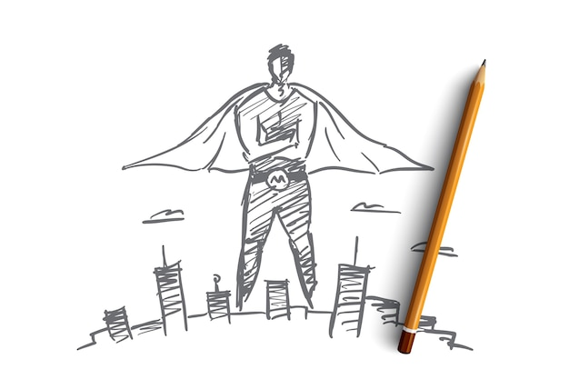その上に鉛筆で手描きのヒーローマンコンセプトスケッチ