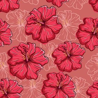 赤の背景に手描きのハイビスカスの花のシームレスなパターン