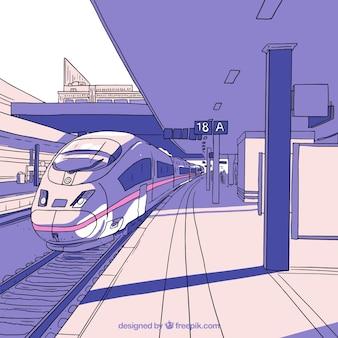 Hand-drawn high-speed train station