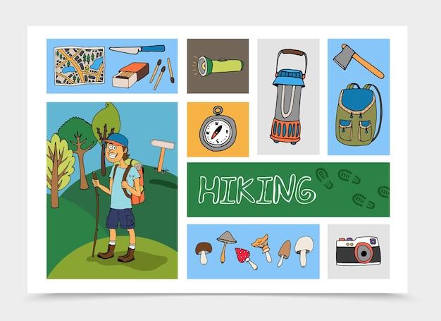 観光イラストと手描きハイキングカラフルな構図