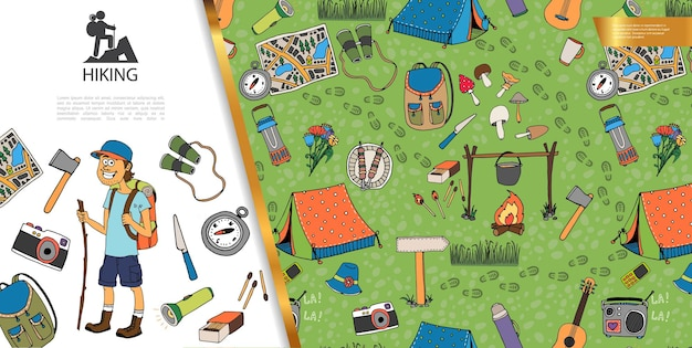 손으로 그린 여름 캠프 관광 일러스트와 함께 하이킹