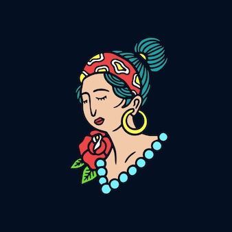 Hand drawn hipster girl old school tattoo illustration