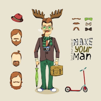 Hand drawn hipster man character set vector illustration