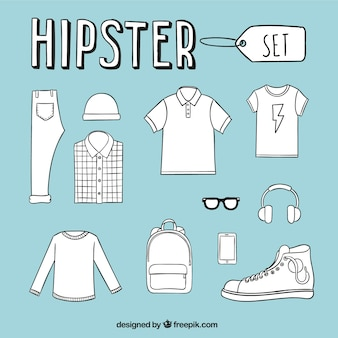 Hand drawn hipster men's clothing