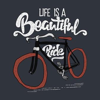 手描きのヒップスターtシャツ。レトロなヴィンテージ自転車とレタリング。