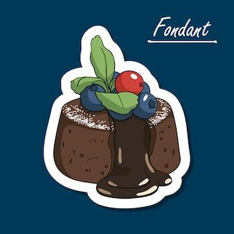 Hand-drawn сhocolate fondant lava cake with berries
