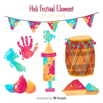 Hand drawn holi elements set