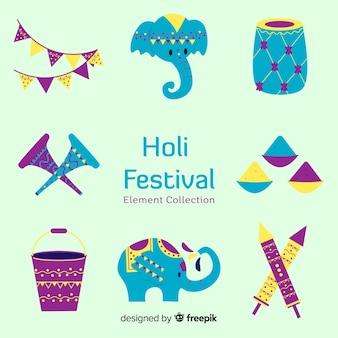Hand drawn holi elements