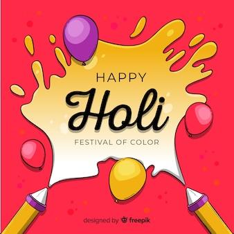 Hand drawn holi festival background