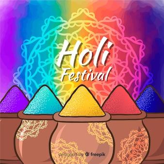 손으로 그린 holi 축제 배경