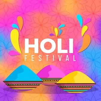手描きのホーリー祭のお祝い