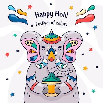 Нарисованная рукой концепция фестиваля холи