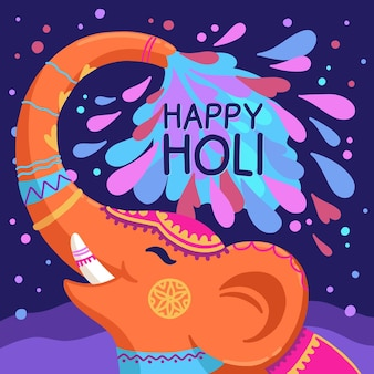 Hand drawn holi festival cute elephant