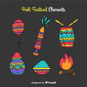Hand drawn holi festival element collection