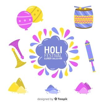 Нарисованные от руки элементы фестиваля холи