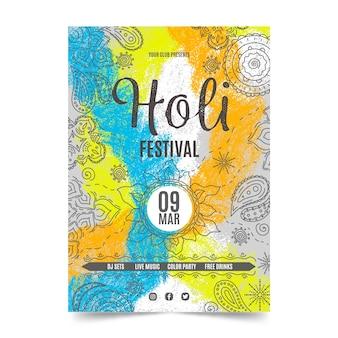 Hand-drawn holi festival flyer template