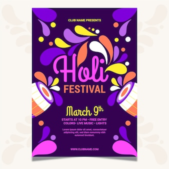 Hand-drawn holi festival flyer template