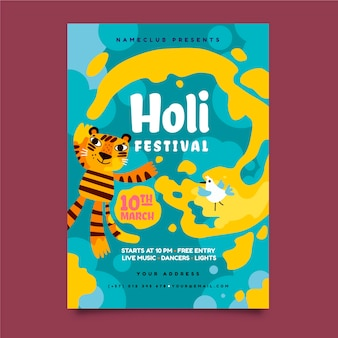 Hand drawn holi festival flyer template