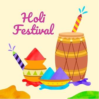 手描きのホーリー祭のイラスト